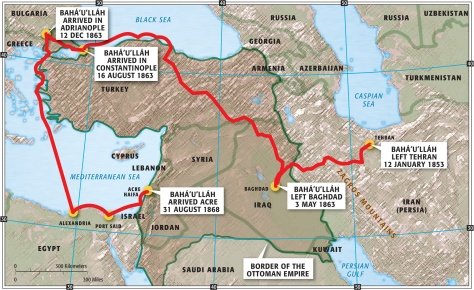 Map showing the route of Bahá'u'lláh's exiles.